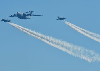 AC-17 Globemaster III and two Sukhoi Su-30MKI planes flypast in a formation, during the 87th Indian Air Force Day parade, Tuesday
