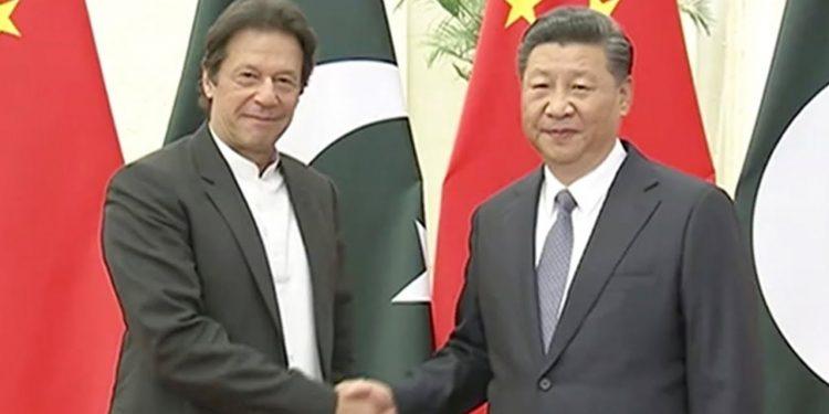 Chinese President Xi Jinping and Pakistan PM Imran Khan. File pic