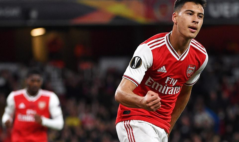 Arsenal's Gabriel Martinelli celebrates after scoring a goal, Thursday