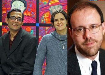 (From Left): Abhijit Banerjee, Esther Duflo and Michael Kremer