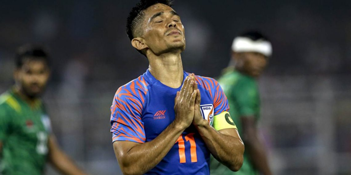 India's Sunil Chhetri prays during World Cup 2022 group E qualifying match against Bangladesh in Kolkata, India, Tuesday, Oct. 15, 2019. (AP Photo/Bikas Das)