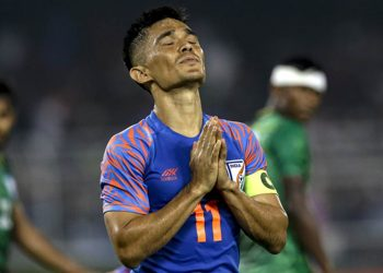 India's Sunil Chhetri prays during World Cup 2022 group E qualifying match against Bangladesh in Kolkata, India, Tuesday, Oct. 15, 2019. (AP Photo/Bikas Das)