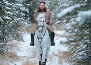 State media showed Kim riding a white horse to climb North Korea's sacred Mount Paektu.