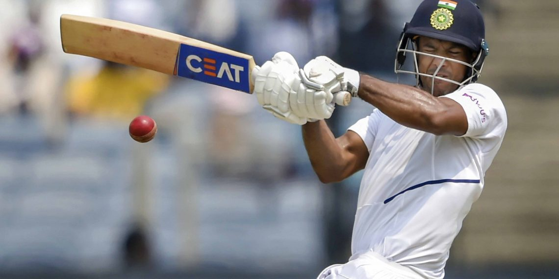 Mayank Agarwal pulls during his three-figure knock against South Africa at Pune, Thursday
