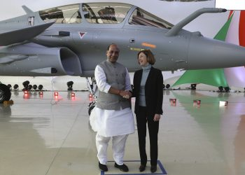 Rajnath Singh with the French Minister of Armed Forces Florence Parly.