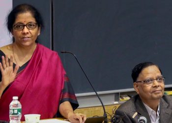 Sitharaman delivering a lecture on the 'Indian Economy: Challenges and Prospects' organised by the Deepak and Neera Raj Center on Indian Economic Policies at Columbia University.