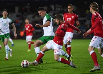 Midfield action during the Denmark-Republic of Ireland game