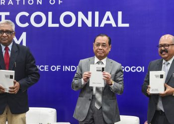 Chief Justice of India (CJI) Ranjan Gogoi,(centre) Justice Hrishikesh Roy (left) and author of book Mrinal Talukdar release a book titled Post Colonial Assam (1947-2019),  in New Delhi Sunday