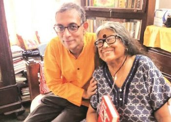 Nabaneeta Dev Sen with Nobel winner Abhijit Banerjee
