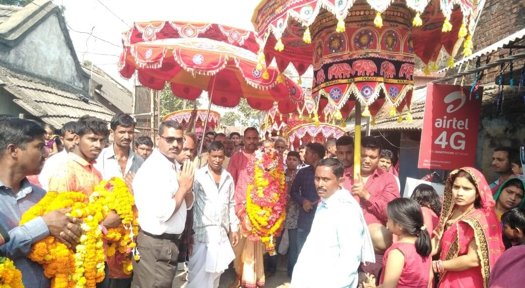 Devotees take out idol of goddess Lovi Thakurani in a procession as part of Banrpal yatra in Angul