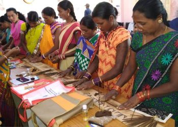 Women receive training on preparation of scented oil and incense sticks at Mission Shakti Hall in Nabarangpur. They will leave for Lucknow for special training on it