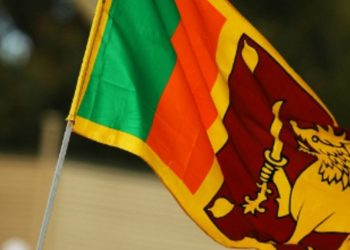 The flag of Tamil National Alliance in Sri Lanka