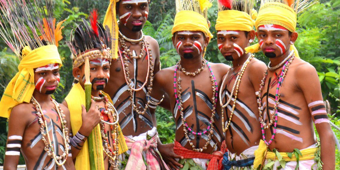 A dance group in tribal-attire performing at Sishu Mahotsav 'Mahak' in Deogarh