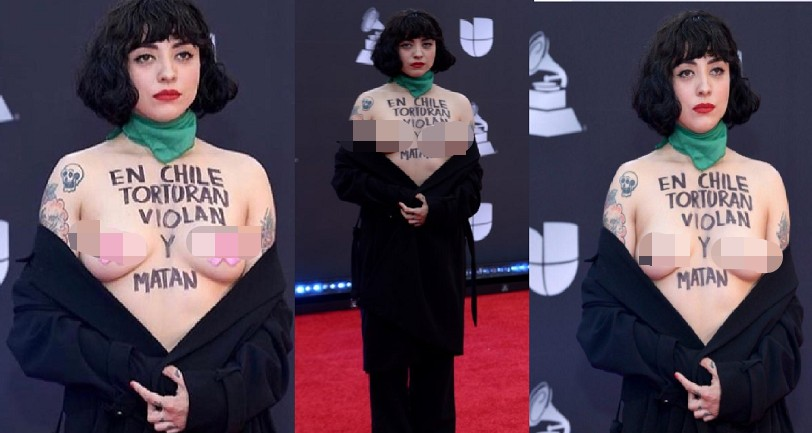 """Image result for Chile singer exposes breasts in protest at Latin Grammys"""""""