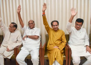NCP chief Sharad Pawar, Shiv Sena president Uddhav Thackeray and other leaders during the meeting Tuesday in Mumbai
