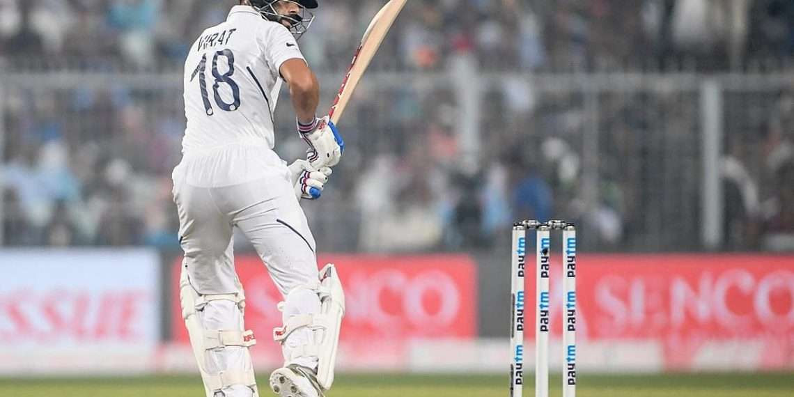 India's cricket team captain Virat Kohli plays a shot during the first day of the second Test cricket match of a two-match series between India and Bangladesh at the Eden Gardens cricket stadium in Kolkata on November 22, 2019. (Photo by Dibyangshu SARKAR / AFP) / IMAGE RESTRICTED TO EDITORIAL USE - STRICTLY NO COMMERCIAL USE