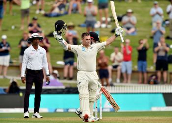 Tom Latham after reaching his century against England, Friday
