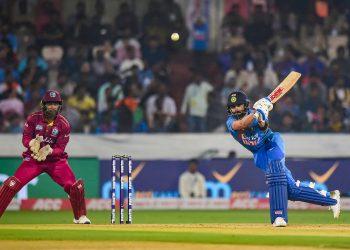 Virat Kohli plays a shot  against West Indies, at Rajiv Gandhi International Stadium in Hyderabad, Friday