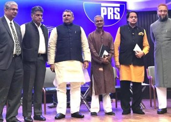 PRS president MR Madhavan, Congress MP Manish Tewari, Bihar Assembly Speaker Vijay Kumar Choudhary, former MP Tathagata Satpathy, former Union minister and Congress MP Shashi Tharoor and AIMIM president and MP Asaduddin Owaisi at the discussion