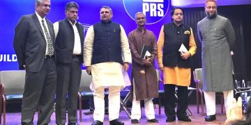 PRS president MR Madhavan, Congress MP Manish Tewari, Bihar Assembly Speaker Vijay Kumar Choudhary, former MP Tathagata Satpathy, former Union minister and Congress MP Shashi Tharoor and AIMIM president and MP Asaduddin Owaisi at the discussion