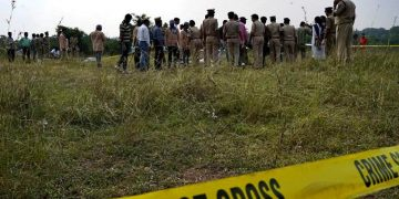 Telangana police personnel at the encounter site