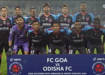 Odisha FC players pose before their game against FC Goa