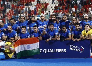 The Indian men's hockey team after winning the FIH Olympic Qualifiers in Bhubaneswar