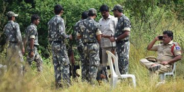 Police at the spot where the four accused in the Hyderabad vet gangrape and murder case were killed in an alleged encounter