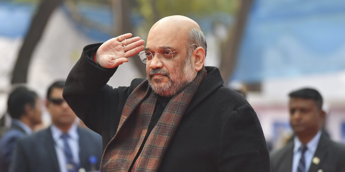 Union Home Minister Amit Shah during the foundation laying ceremony of Directorate General building of CRPF in New Delhi, Sunday