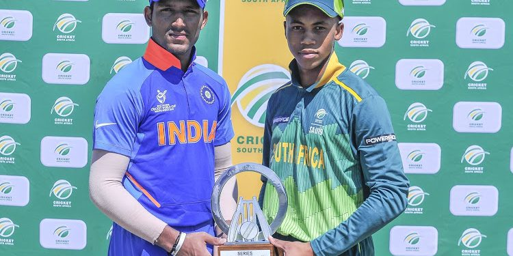 Priyam Garg Captain and Khanya Cotani of the Coca-Cola South Africa under-19s, during the 2019 One Day International Under-19 game between South Africa and India at Buffalo Park in East London on on 26 December 2019 © Deryck Foster/BackpagePix