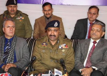 Kashmir DGP Dilbag Singh along with other officials addresses the media Tuesday