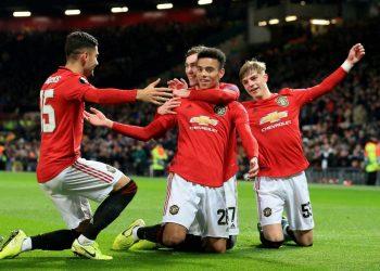 Manchester United's Mason Greenwood celebrates his goal.