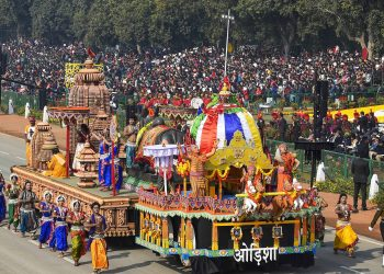The tableau of Odisha at the Republic Day parade in New Delhi