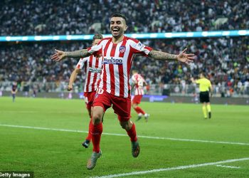 Angel Correa celebrates after scoring the winner for Atletico Madrid against Barcelona