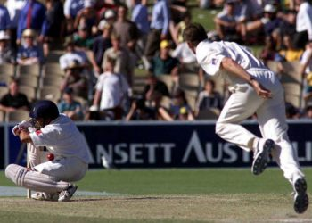 The famous 'shoulder before wicket' dismissal