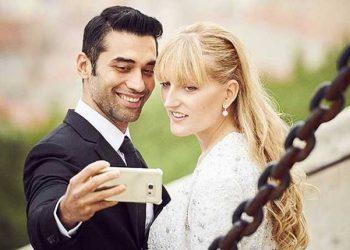 In happier times: Kushal Punjabi and Audrey Dolhen