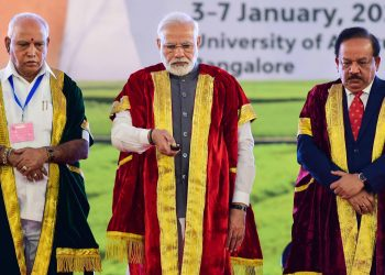 (From left): Karnataka Chief Minister BS Yediyurappa, Prime Minister Narendra Modi and Union Minister Harsh Vardhan