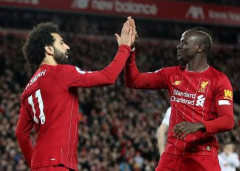 Liverpool goalscorers Mohamed Salah and Sadio Mane celebrate