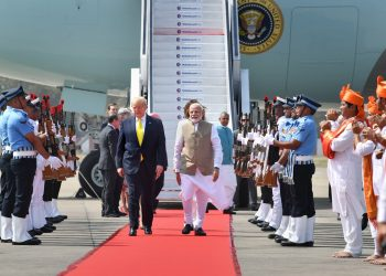 Ahmedabad: Prime Minister Narendra Modi welcomes US President Donald Trump on his arrival at the Sardar Vallabhbhai Patel International Airport in Ahmedabad, Monday, Feb. 24, 2020. Trump is on a two-day visit to India.
