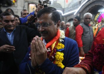 New Delhi: Delhi Chief Minister and Aam Aadmi Party (AAP) chief Arvind Kejriwal offers prayers at the Hanuman Temple at Delhi's Connaught Place (CP) after his party achieved sweeping victory in the Delhi Assembly elections 2020, on Feb 11, 2020. (Photo: IANS)
