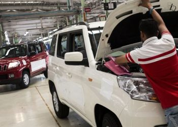 TUV 300 multi utility vehicles gets assembled and head for quality check at the Mahindra factory in Chakan, Pune India, on Monday, April 2, 2018. Photo: Udit Kulshrestha/Bloomberg