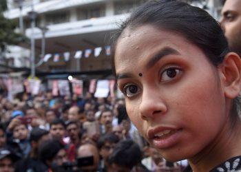 Aishe Ghosh at a rally in Kolkata, Thursday