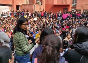 Gargi College students protesting against police inaction