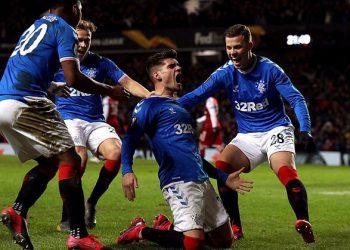 Ianis Hagi celebrates after scoring the match-winning goal for Rangers
