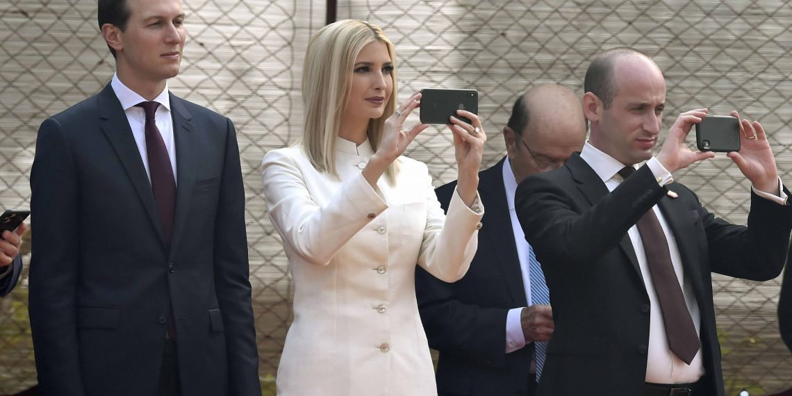 Ivanka Trump wearing the Anita Dongre sherwani takes pictures at the Rashtrapati Bhavan during her dad's guard of honour