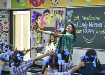 Melania Trump attending a Happiness Class at a school in New Delhi