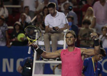 Rafael Nadal celebrates after defeating Serbia's Miomir Kecmanovic