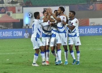 Odisha FC players celebrate a goal at the Kalinga Stadium, Sunday. Pic: Bikash Nayak/OP