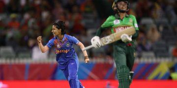 Poonam Yadav celebrates after dismissing a Bangladeshi batswoman