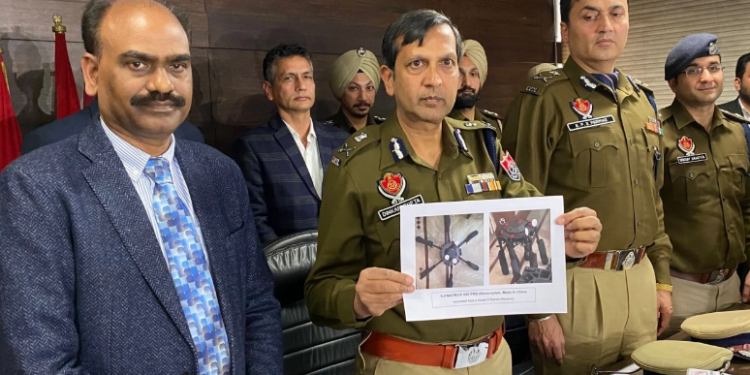 Punjab DGP Dinkar Gupta shows the image of drones used in smuggling (file photo) (Picture via Twitter)